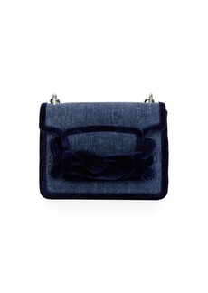 Miu Miu Velvet-Trim Denim Shoulder Bag