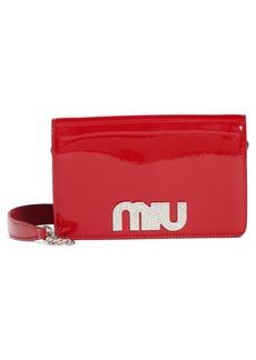 Miu Miu Vernice Crystal Logo Patent Leather Shoulder Bag