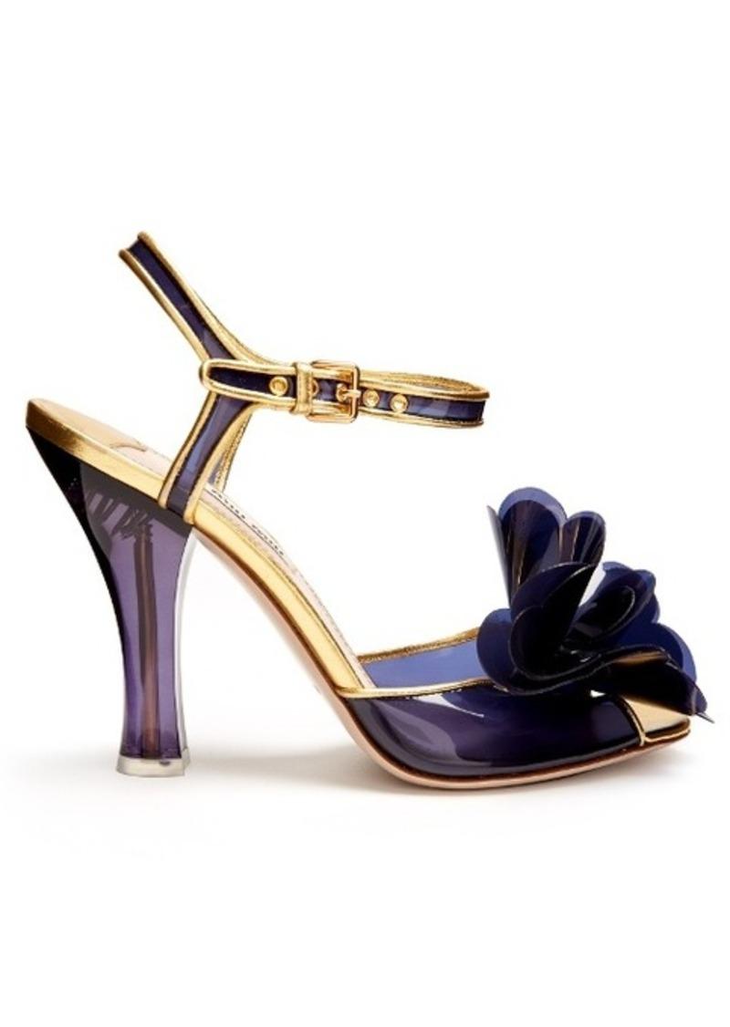 3ab19e9cec0d On Sale today! Miu Miu Miu Miu Vinyl-flower embellished sandals