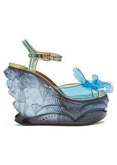 Miu Miu Vinyl-flower plexiglass wedge sandals