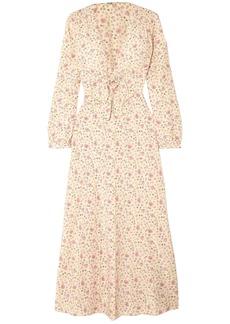 Miu Miu Woman Bow-detailed Floral-print Silk Crepe De Chine Maxi Dress Cream