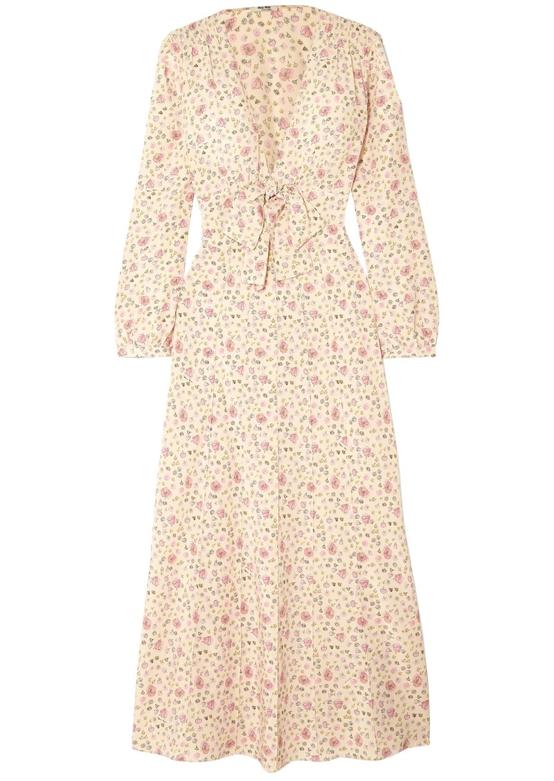 Miu Miu Woman Bow-detailed Floral-print Silk Crepe De Chine Maxi Dress Cream