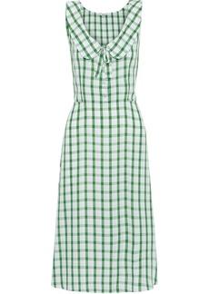 Miu Miu Woman Bow-detailed Gingham Broadcloth Dress Light Green