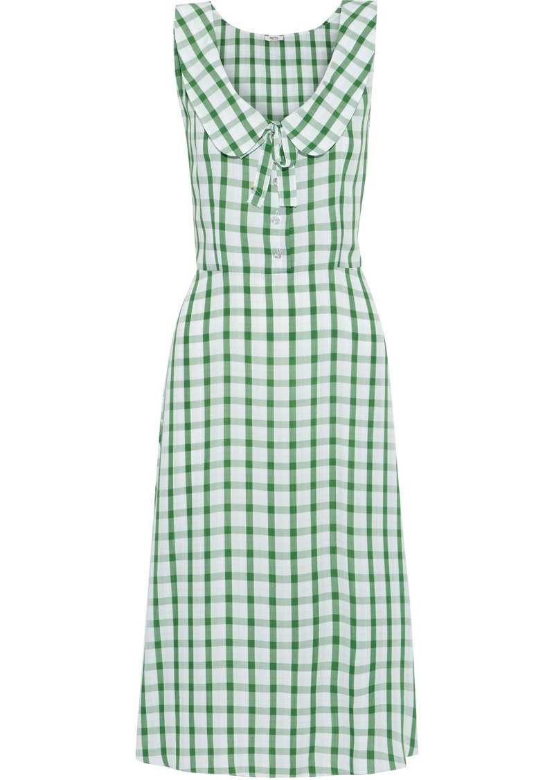 Miu Miu Woman Bow-detailed Gingham Broadcloth Dress Light Green