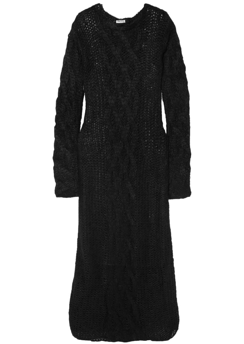 Miu Miu Woman Cable-knit Mohair-blend Maxi Dress Black