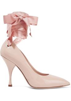 Miu Miu Woman Bow-detailed Patent-leather Pumps Pastel Pink