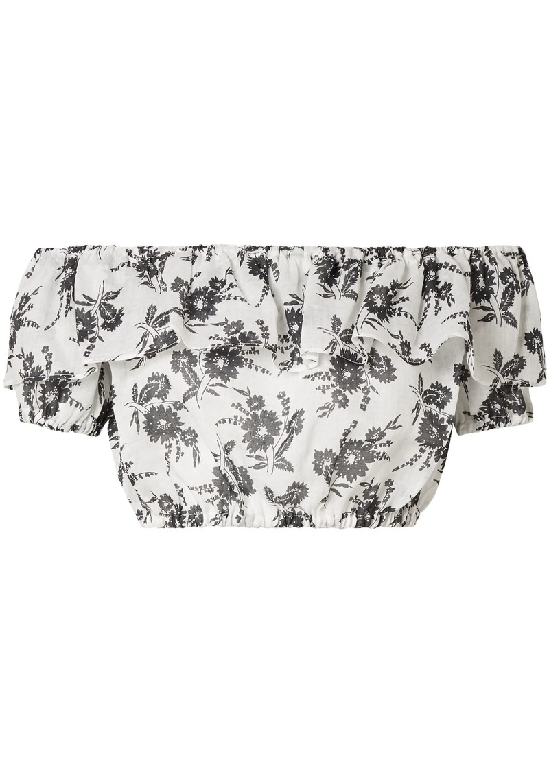 Miu Miu Woman Cropped Off-the-shoulder Ruffled Floral-print Ramie Top Ivory
