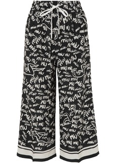 Miu Miu Woman Cropped Printed Silk Crepe De Chine Wide-leg Pants Black