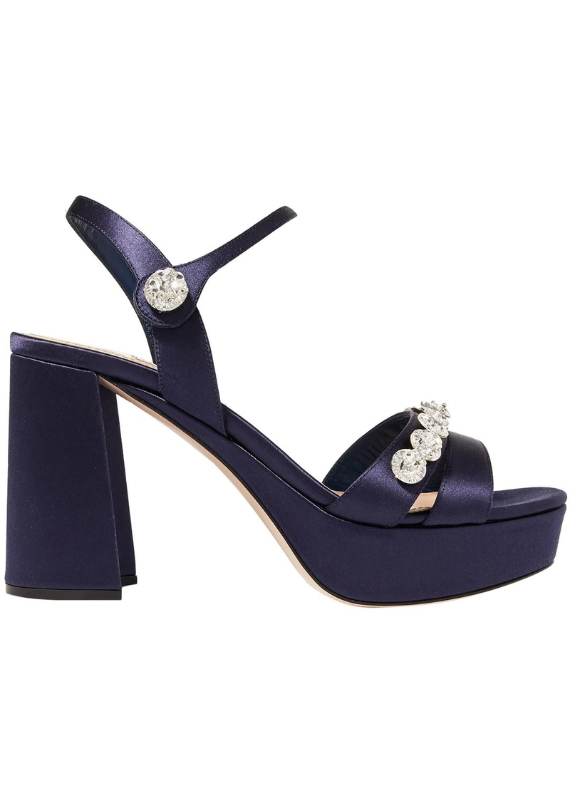 Miu Miu Woman Crystal-embellished Satin Platform Sandals Dark Purple