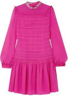 Miu Miu Woman Embellished Pintucked Silk-georgette Mini Dress Fuchsia