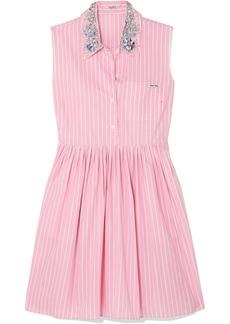 Miu Miu Woman Embellished Striped Cotton-poplin Mini Dress Baby Pink