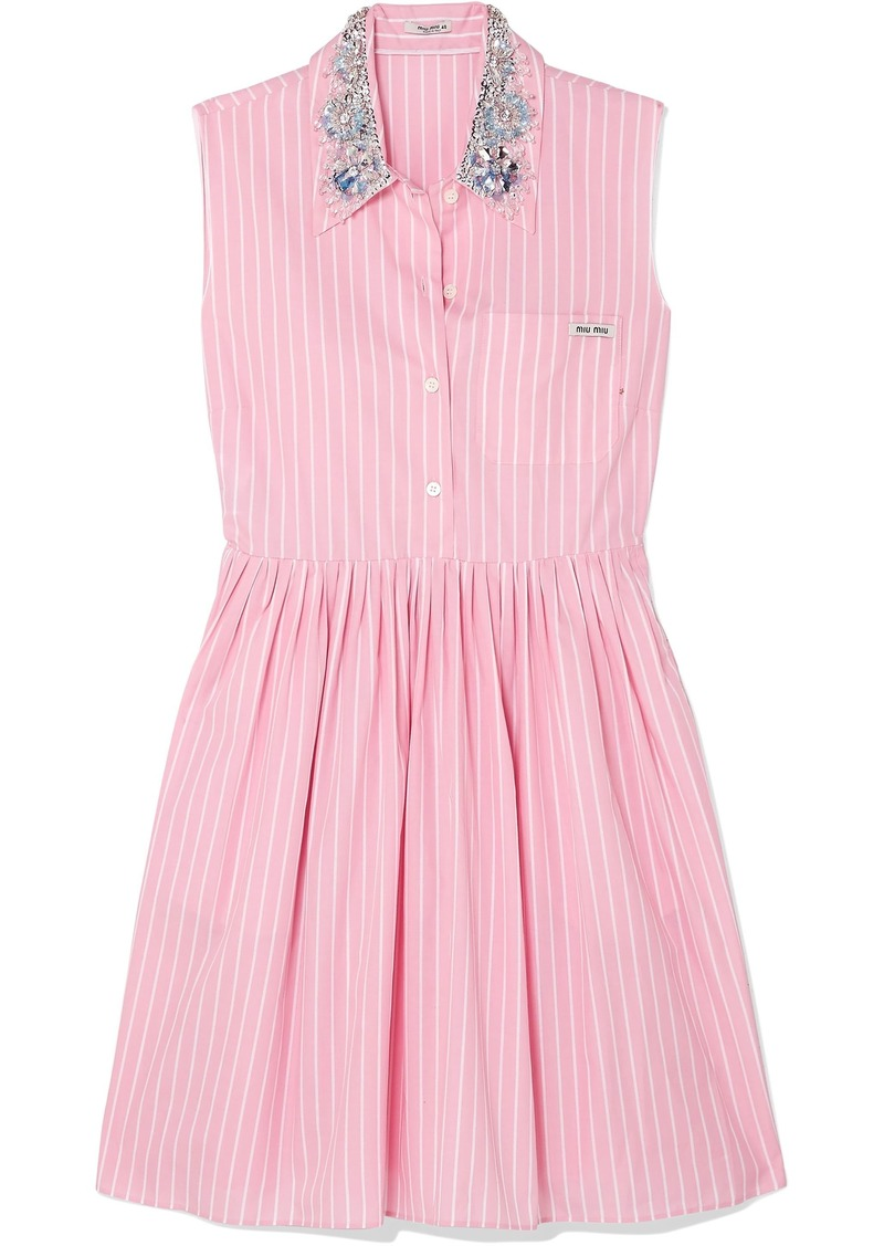 Miu Miu Woman Embellished Striped Cotton-poplin Mini Dress Baby Pink