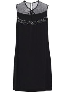 Miu Miu Woman Embellished Tulle-paneled Crepe Mini Dress Black