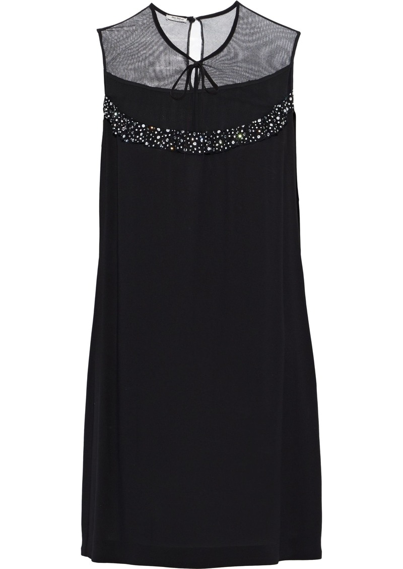 Miu Miu Woman Embellished Tulle-paneled Crepe Mini Dress Black