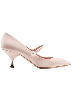 Miu Miu Woman Faux Pearl-embellished Patent-leather Mary Jane Pumps Pastel Pink