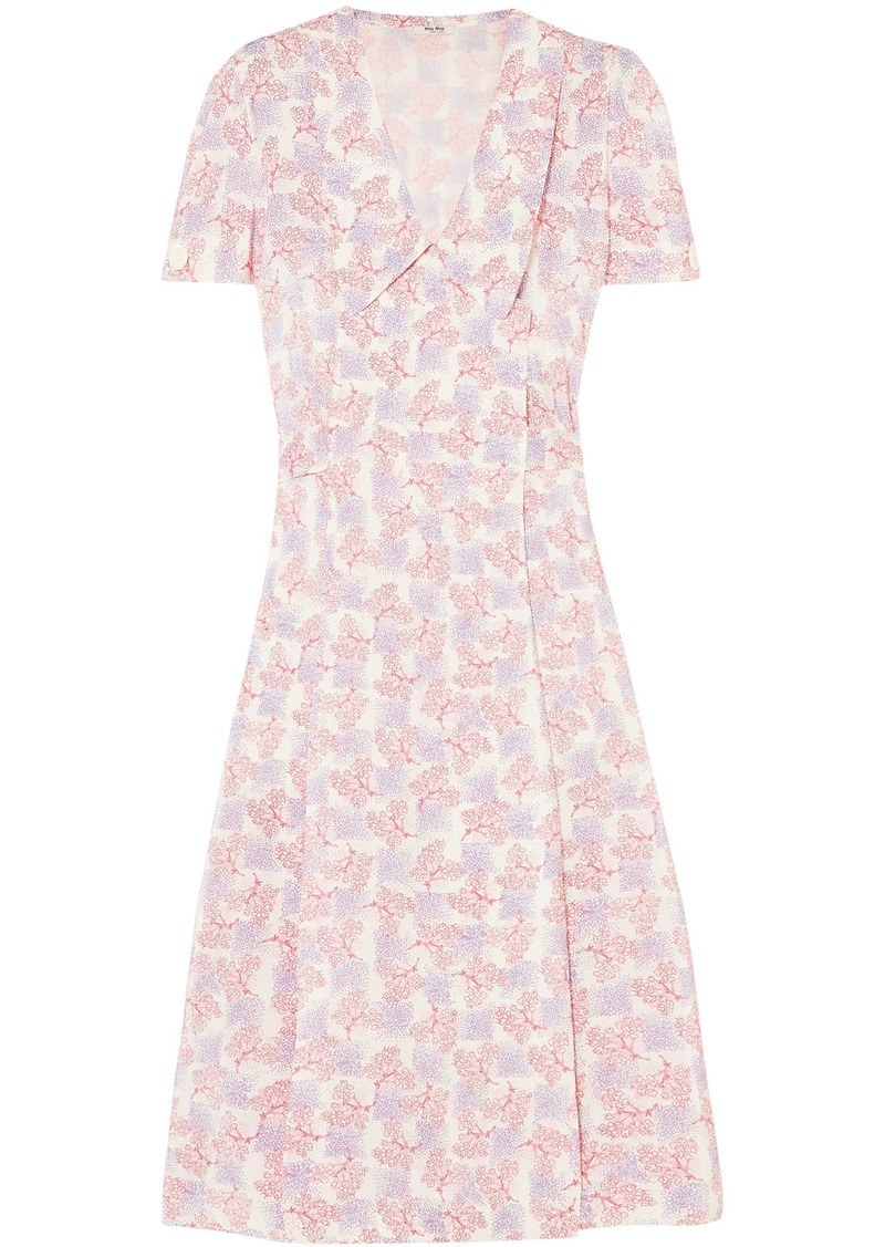 Miu Miu Woman Floral-print Silk Crepe De Chine Wrap Dress Pastel Pink