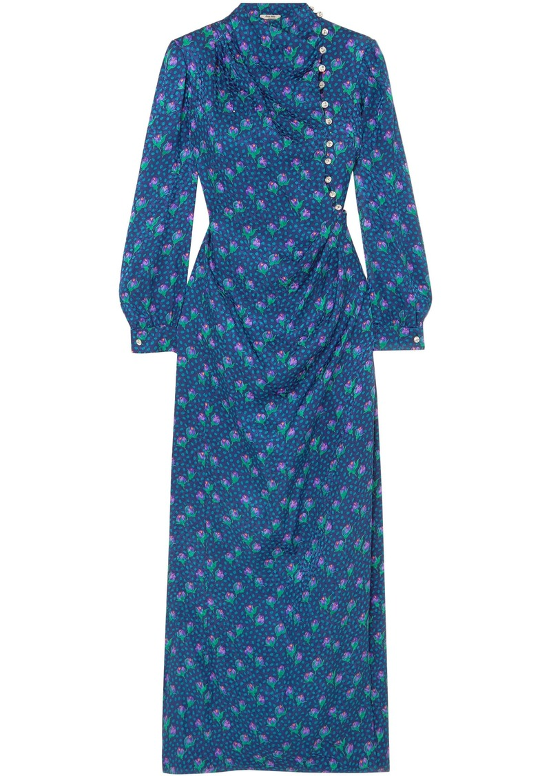 Miu Miu Woman Button-detailed Printed Silk-jacquard Maxi Dress Cobalt Blue