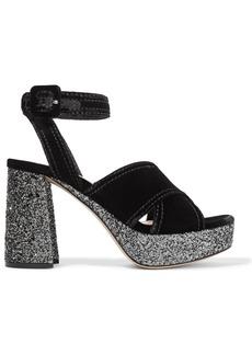 Miu Miu Woman Glitter-trimmed Velvet Platform Sandals Black