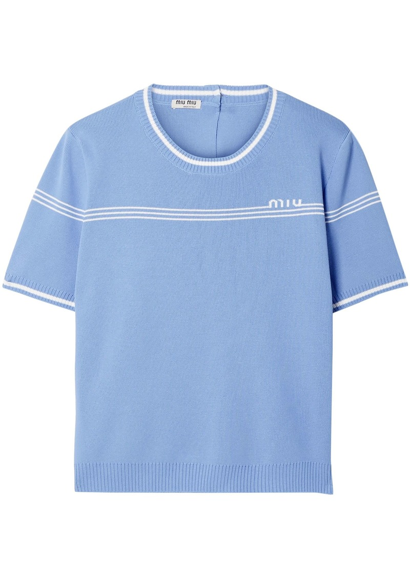 Miu Miu Woman Intarsia-knit Top Light Blue