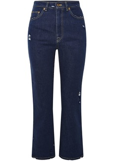 Miu Miu Woman Lace-appliquéd Distressed High-rise Kick-flare Jeans Dark Denim