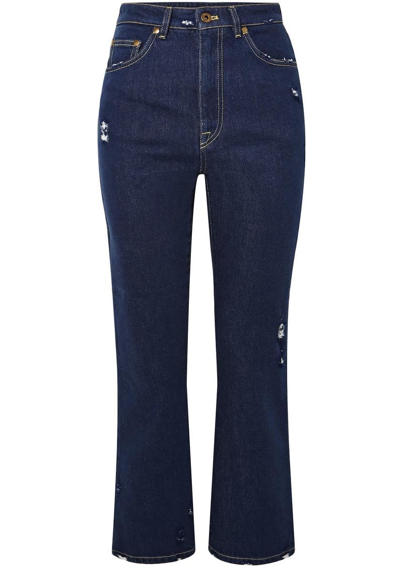 Miu Miu Woman Lace-appliquéd Distressed High-rise Kick-flare Jeans Dark Denim