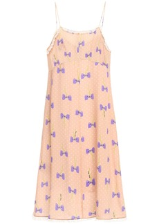 Miu Miu Woman Lace-trimmed Printed Silk Crepe De Chine Slip Dress Peach