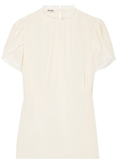 Miu Miu Woman Lace-trimmed Silk Crepe De Chine Top Ecru