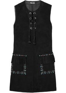Miu Miu Woman Lace-up Embellished Suede Mini Dress Black