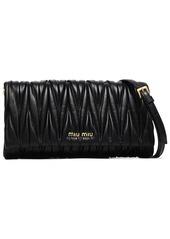Miu Miu Woman Matelassé Leather Shoulder Bag Black