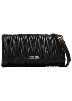 Miu Miu Woman Matelassé Leather Shoulder Bag Black