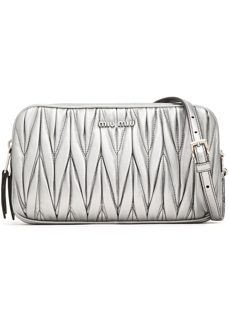 Miu Miu Woman Matelassé Leather Shoulder Bag Silver