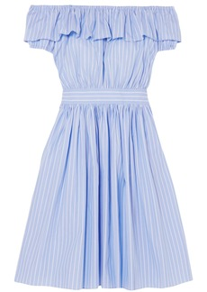 Miu Miu Woman Off-the-shoulder Ruffled Striped Cotton-poplin Dress Light Blue