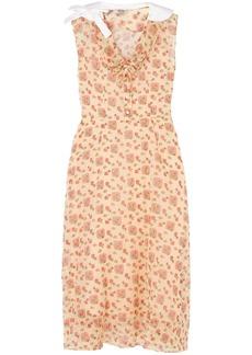Miu Miu Woman Printed Cotton-organza Midi Shirt Dress Peach