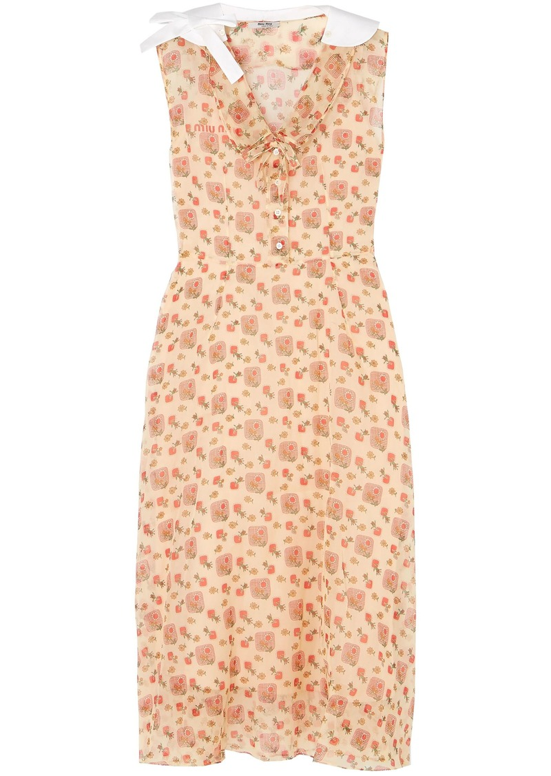 Miu Miu Woman Printed Cotton-organza Midi Shirt Dress Peach