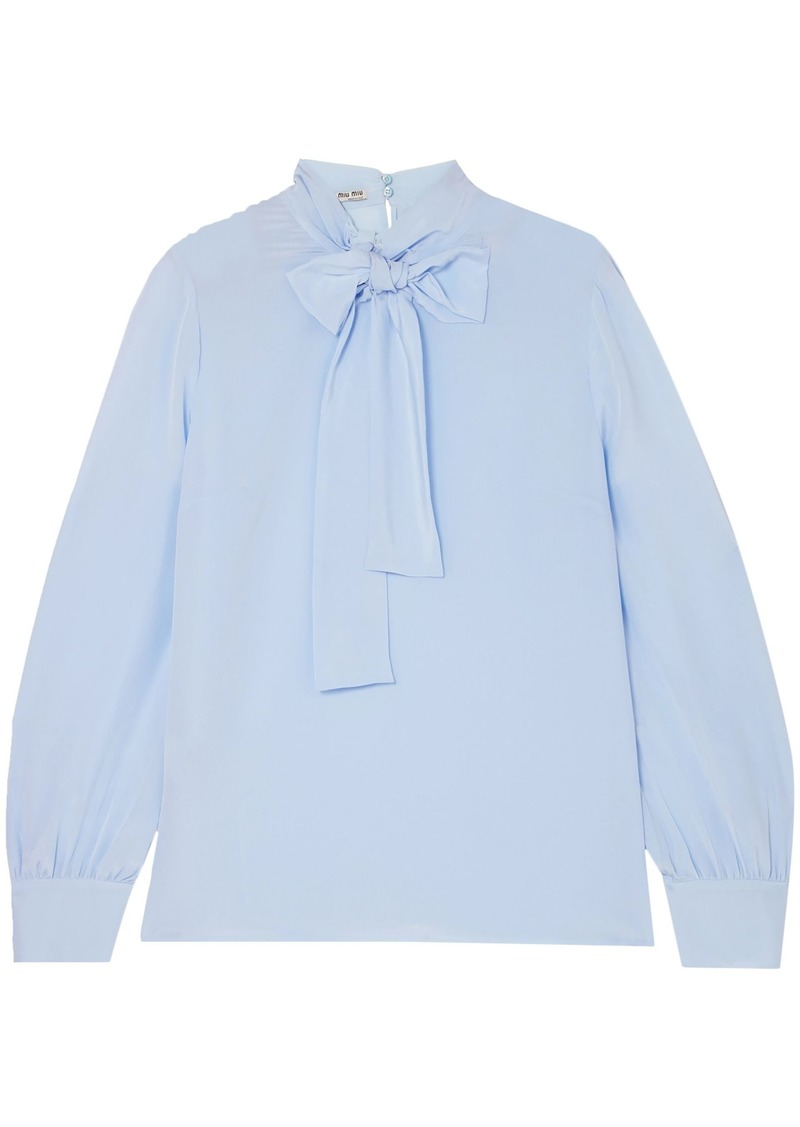 Miu Miu Woman Pussy-bow Silk Crepe De Chine Blouse Light Blue