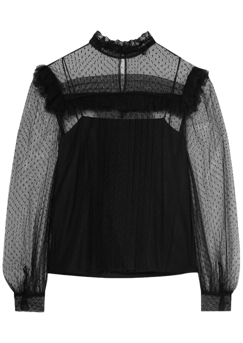 Miu Miu Woman Ruffle-trimmed Point D'esprit Blouse Black