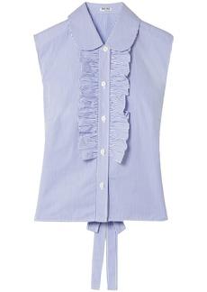 Miu Miu Woman Ruffle-trimmed Striped Cotton-poplin Top Light Blue