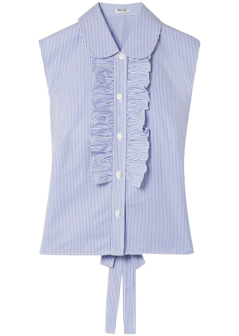 Miu Miu Woman Ruffle-trimmed Striped Cotton-poplin Top Light Blue