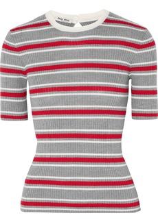 Miu Miu Woman Striped Ribbed Wool Top Gray