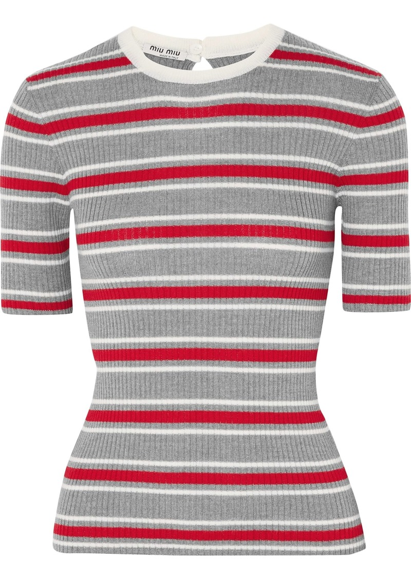 Miu Miu Woman Striped Ribbed Wool Top Gray