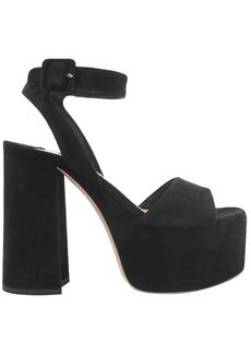 Miu Miu Woman Suede Platform Sandals Charcoal