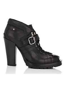 Miu Miu Women's Buckle-Strap Leather Ankle Boots