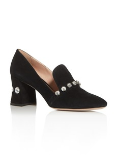 Miu Miu Women's Calzature Donna Embellished Block-Heel Loafers