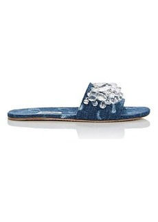 Miu Miu Women's Crystal-Embellished Denim Slide Sandals