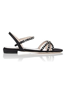 Miu Miu Women's Crystal-Embellished Satin Sandals
