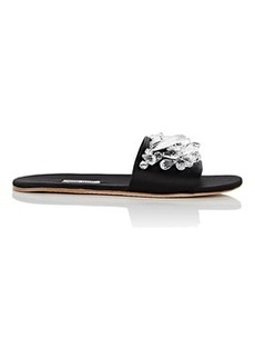 Miu Miu Women's Crystal-Embellished Satin Slide Sandals