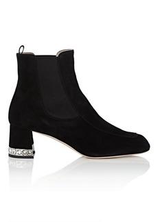 Miu Miu Women's Crystal-Inset Suede Chelsea Boots