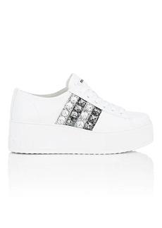 Miu Miu Women's Crystal-Striped Leather Platform Sneakers