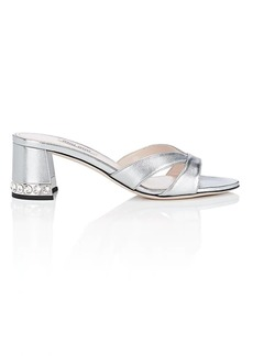 Miu Miu Women's Embellished-Heel Metallic Leather Sandals