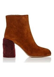 Miu Miu Women's Fur-Heel Suede Ankle Boots
